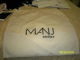 "Manu atelier New  Tan Dust / black Logo Bag  Draw String 13 x 14"" - $14.84"