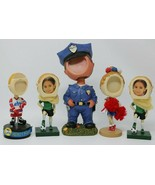 Melannco Picture Frame Bobble Head Lot of 5 Cheerleader Police Hockey So... - $42.08