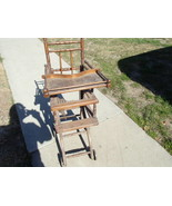 Antique Wood Folding High Chair / Stroller ~ RARE - $400.00