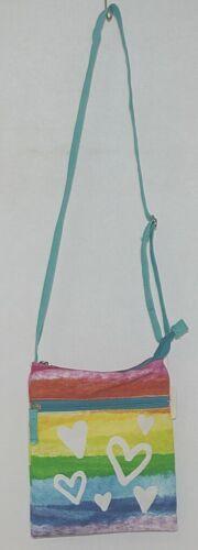 Three Cheers For Girls Brand 29170 Turquoise Rainbow White Hearts Cross body Bag