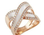 14K Rose Gold Fn Natural Mother of Pearl & Diamond  Rings silver 925