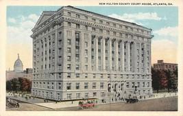 ATLANTA, Georgia GA    NEW FULTON COUNTY COURT HOUSE     ca1920's Postcard - $4.86