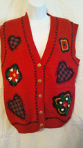 Jantzen Sweater Vest Women Size S/P  Hand Embroidered Classics  Red   NWT image 1