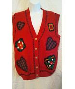 Jantzen Sweater Vest Women Size S/P  Hand Embroidered Classics  Red   NWT - $9.90