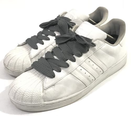 best cheap e238d cece9 adidas Stan Smith All White Shoes Gray Laces Casual Sneakers Men Size US 13