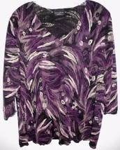 "BRITTANY BLACK WOMAN Shirt Plus 48"" Bust (XL?) Purple Beige 3/4 Sleeve V... - $13.85"