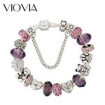 VIOVIA DIY European Style Crystal&Murano Glass Bead Bracelet Fit Original Charm - $10.15