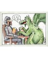 ACEO TW AUG Original Painting George And Dragon fantasy cartoon saint kn... - $16.00