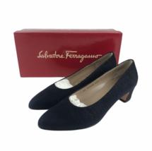 Vintage Salvatore Ferragamo Boutique Women's Rio Shoes Pumps Pebbled Blu... - $55.78