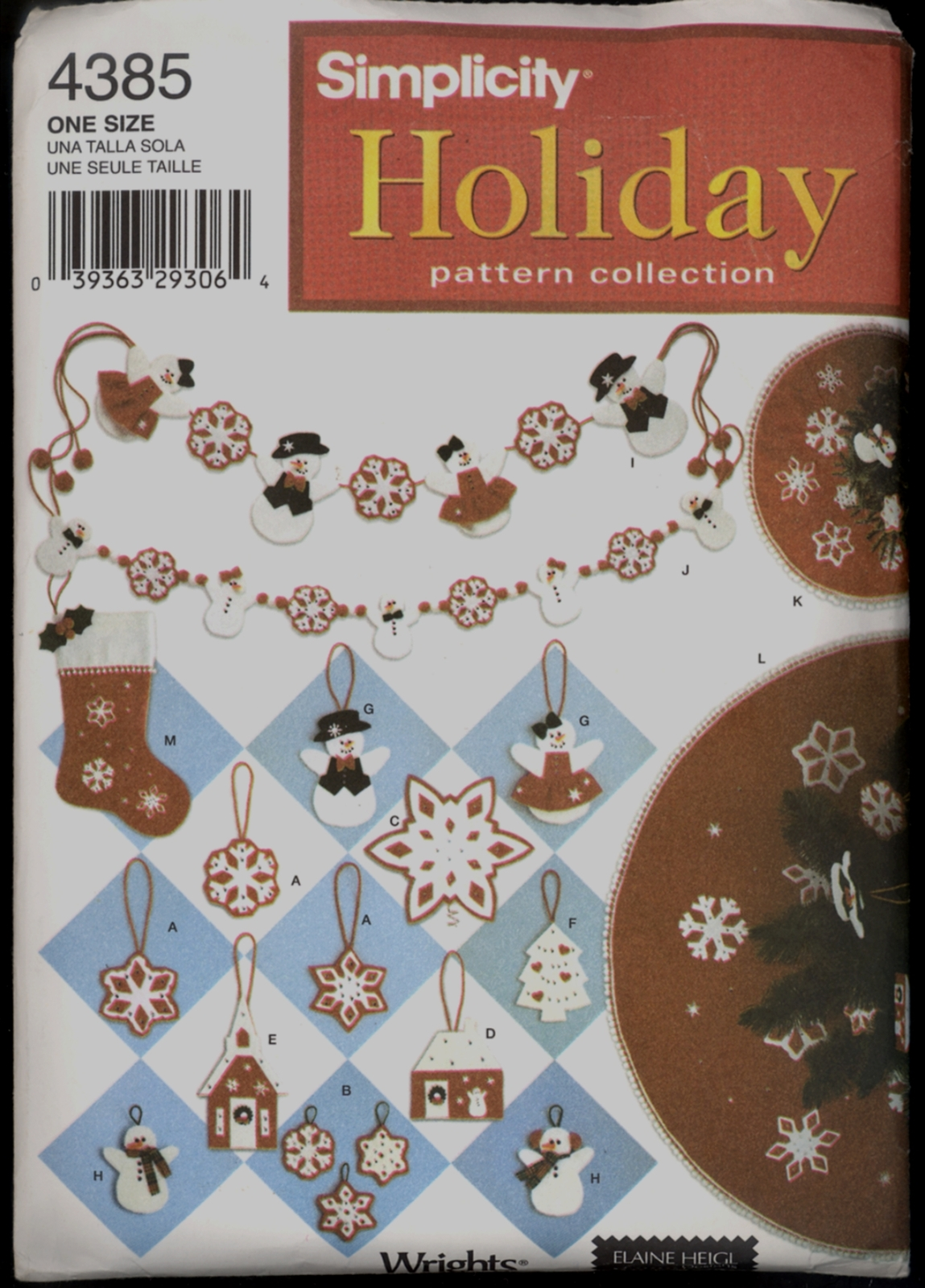 UNC Christmas Tree Skirt Ornaments Stocking Elaine Heigl Simplicity 4385 Pattern