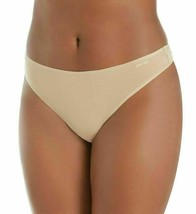 Calvin Klein Women's Form Stretch Plus Size 1X Bare Nude Thong Panties NWT image 2