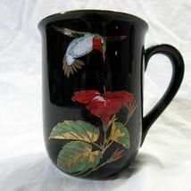 Vtg Otagiri Hummingbird Coffee Mug Tea Cup Gold Embossed on Black - $21.99