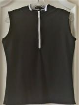 Stylish Women's Golf & Casual Sleeveless Black Mock Polo Top, Rhinestone... - $29.95