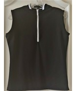 Stylish Women's Golf & Casual Sleeveless Black Mock Polo Top, Rhinestone... - $29.95