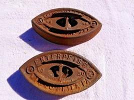 Lot Of 2 Antique Cast SAD Iron #50  Enterprise Mfg Co. Clothes Iron Phil... - $9.99
