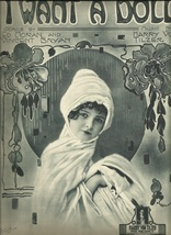1918 I Want A Doll Wall Cover Art Piano Song Vocal Antique Vintage sheet... - $7.95