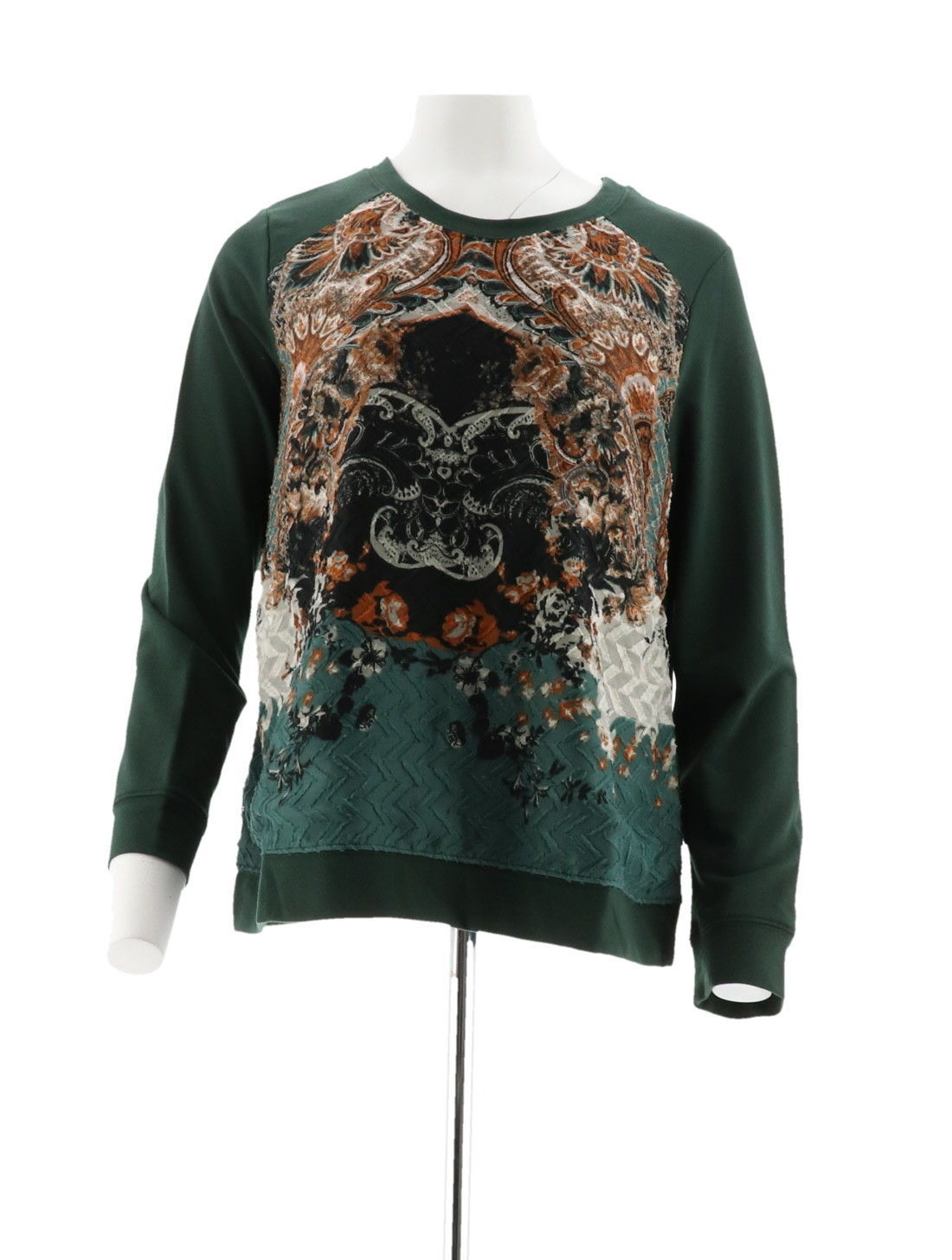 Susan Graver Weekend French Terry Top Printed Front Green M NEW A282111