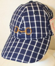 Marley Lilly Blue and White Plaid Embroidered Logo Strapback Cotton Cap Hat NWT - $29.95