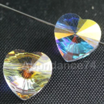 Swarovski Crystal Elements 5742 Heart Beads Crystal CLEAR AB - 14mm 8pcs - $11.60