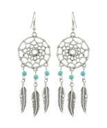 Turquoise Dream Catcher Earrings Dangling Feath... - $15.00
