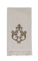 Avanti Monaco Fingertip Towels Ivory Embroidered Guest Bath Fringe Edge ... - $31.56