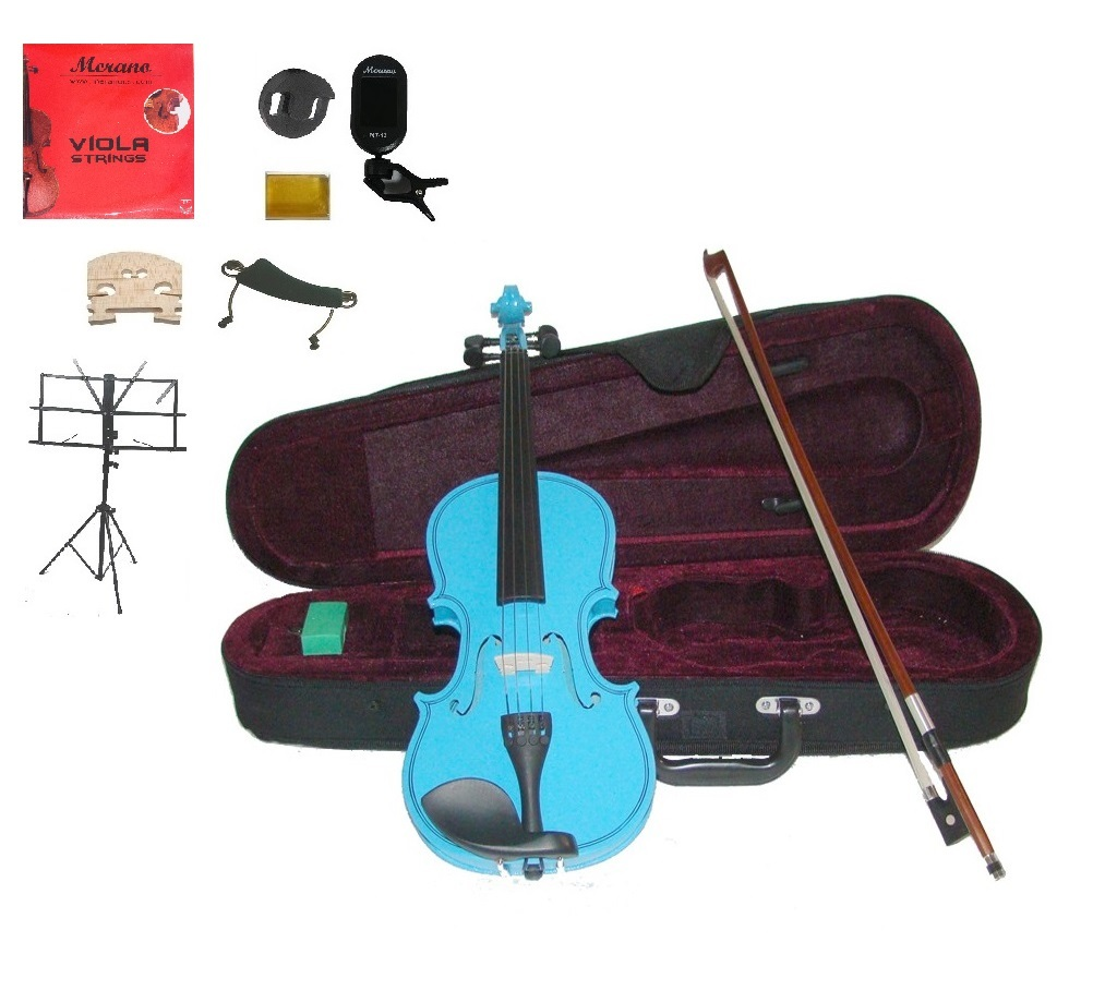 """Merano Acoustic 10"""" BLUE Student Viola,Case,Bow & Much More"""