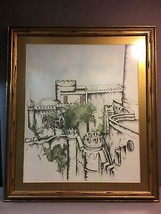Vintage Line Drawing and Hand Colored Castle by P. Kidwell 1966 Great Frame - $19.12