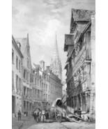 ARCHITECTURE PRINT : CAEN Street View Saint Peter Church France - $33.75