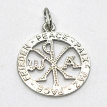 SOLID 18K WHITE GOLD MONOGRAM OF CHRIST PENDANT, PEACE, MEDAL, 0.8 INCHES image 3