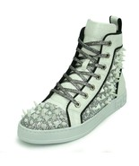 Encore by Fiesso White Fashion High Top Sneakers with Glitter and Spikes... - $159.99