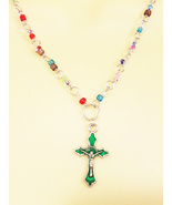 green cross necklace rosary bead crucifix charm pendant glass beaded jew... - $5.99