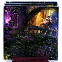 Thomas Kinkade Disney's Beauty and the Beast Prints 4 Pc Fused Glass Coaster Set image 3