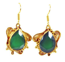 Green Gold Plated Glass resplendent Green Onyx gemstones Earring AU gift - $8.33