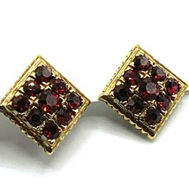 Vtg Red Crystal Clip On Earrings Diamond Shape Gold Tone Sparkly - $13.98