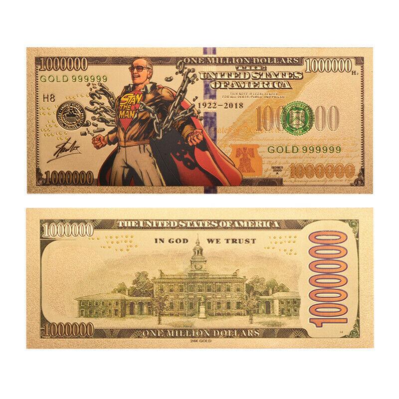 Amazing Spiderman Stan Lee  Gold Foil 10PCS Banknote Set Super Heroes Fans