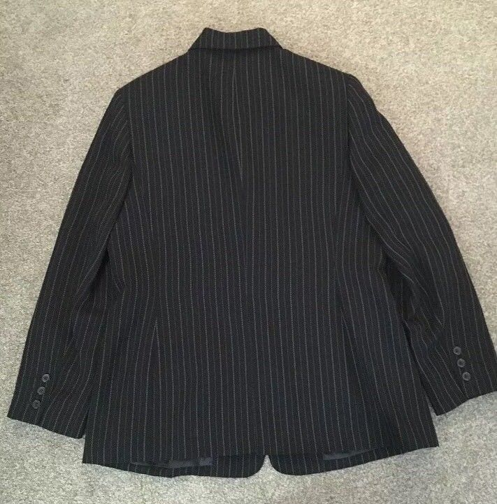 Womens Laura Scott Black Pin Striped Blazer Business Jacket Career Size 14