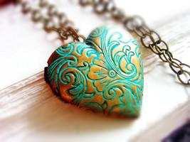 Patina Floral Heart Locket Necklace Patina Heart Photo Locket Necklace - $38.00
