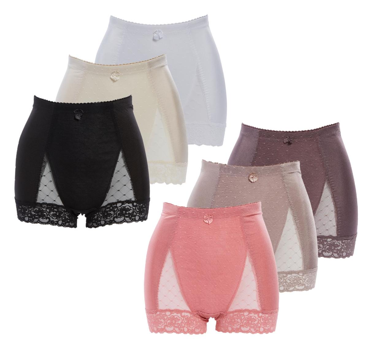 Rhonda Shear Black Floral Lace Smoothing Retro Style Pin Up Panties New