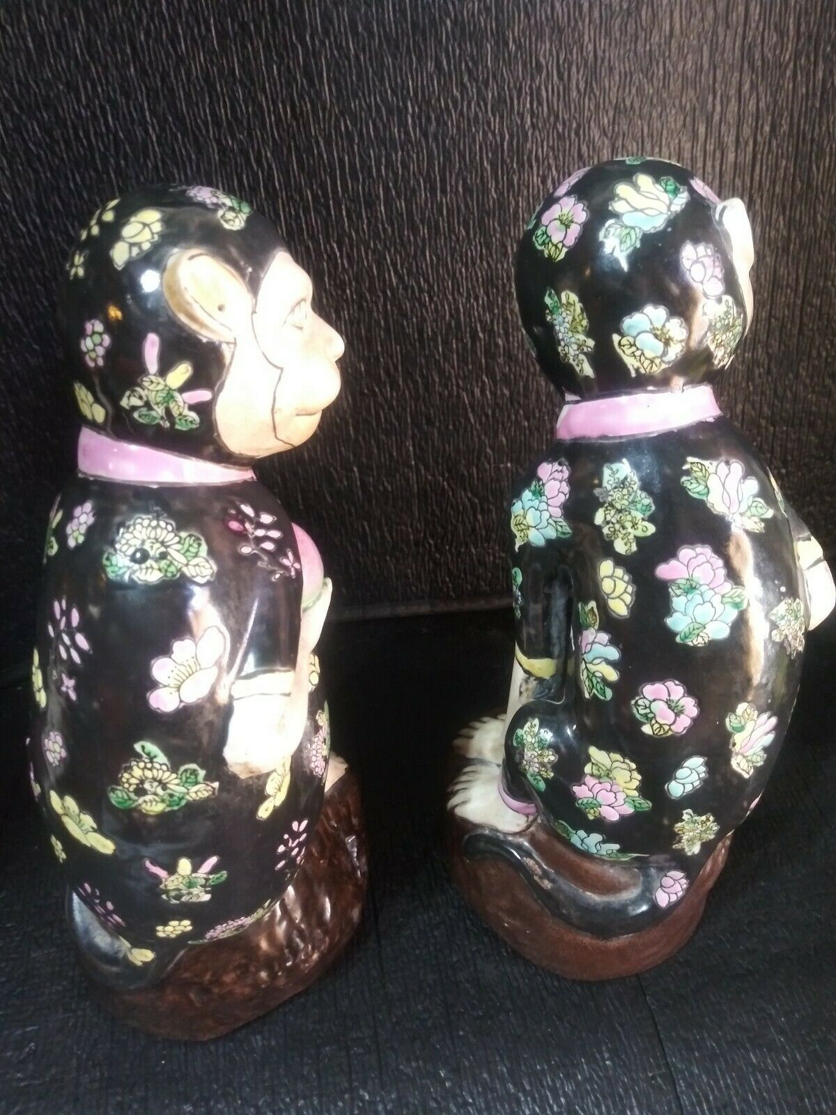 Stunning Pair of Porcelain Ceramic Monkey Figurines collectible Vintage [abb-7]