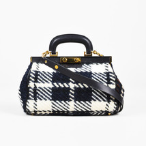Marni NWOT Black & White Wool & Leather Checked Frame Doctor Bag - $18.740,61 MXN