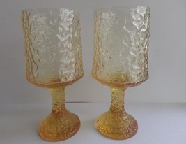 2 LENOX IMPROMPTU Yellow Water Glasses Stems Goblets Ripples Textured - $19.80