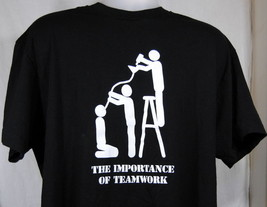T-Shirt The Importance of Teamwork Graphic Black XL Party Drinking Booze... - $18.55