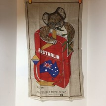 "Australia Koala Bear Backpack 100% Linen Tea Towel Dish Towel 18"" x 31' - $12.59"