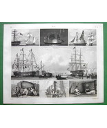 SHIPS on Parade Firing Salute Striking Flag - SUPERB 1844 Antique Print - $21.42