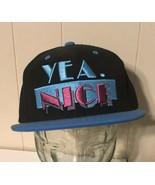 Yea Nice Black Snapback Blue Baseball Cap Flat Brim - $7.96