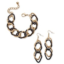 Curb-Link Two-Piece Set Gold Tone and Black Ruthenium-Plated - $10.88