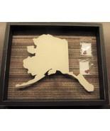Alaska State Shape Black Distressed Box Sign w/ 2 Red Adhesive Hearts - $46.00