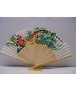 Asian Painted Floral Silk Fan & Birds Folding Hand Fans New Vintage - $14.99
