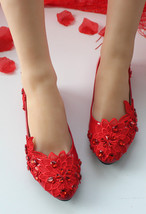 Embellished Lace Wedding Shoes Blush Women's Bridal Shoes UK Size 2,3,4,5,6,7,8 - $38.00