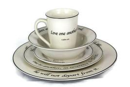 5 Piece Dinnerware Set Feed on the Word Scripture on Tableware Porcelain - $88.60